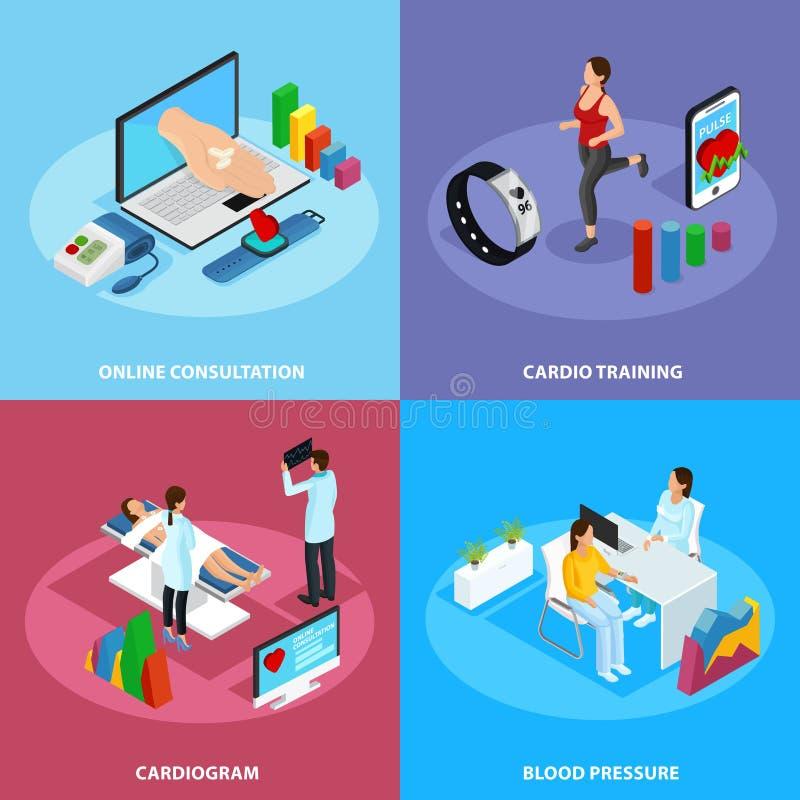 Concept isométrique de traitement médical de Digital illustration de vecteur