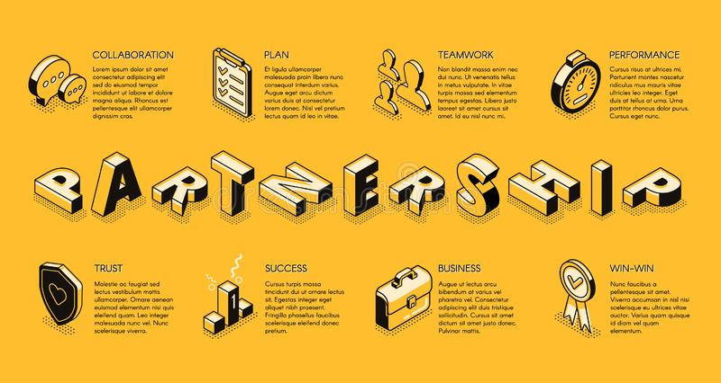 Concept isométrique de vecteur d'association d'affaires illustration libre de droits