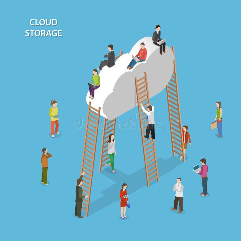 Concept isométrique de vecteur de stockage de nuage illustration libre de droits