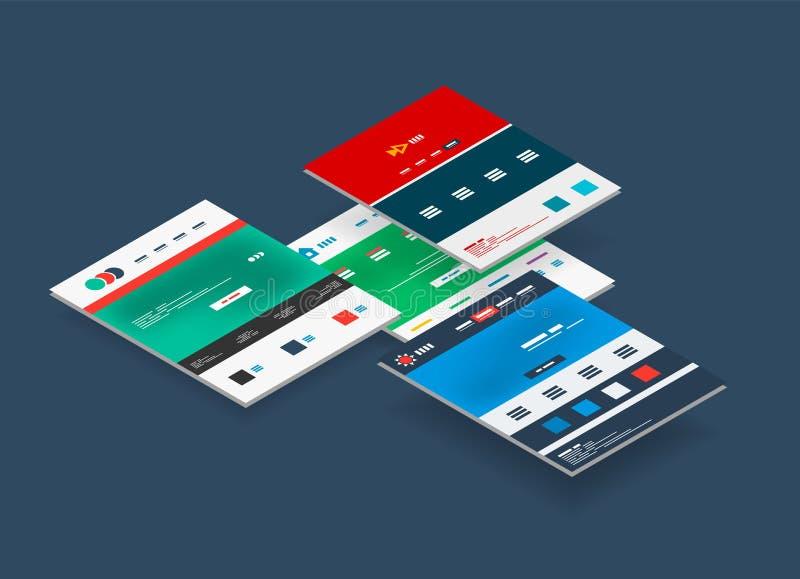 Concept isométrique des calibres de conception de site Web illustration libre de droits