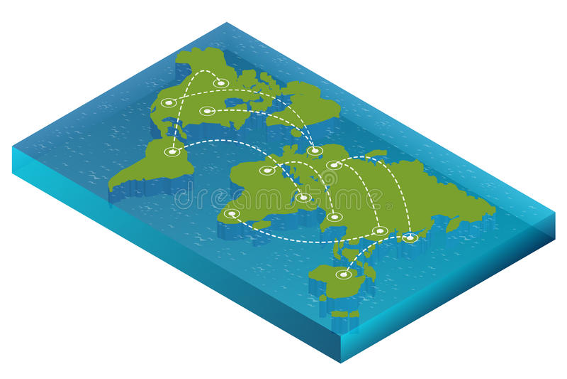 Concept isométrique du monde de carte illustration 3d plate de monde de carte Carte politique du monde de connexion de carte du m illustration stock