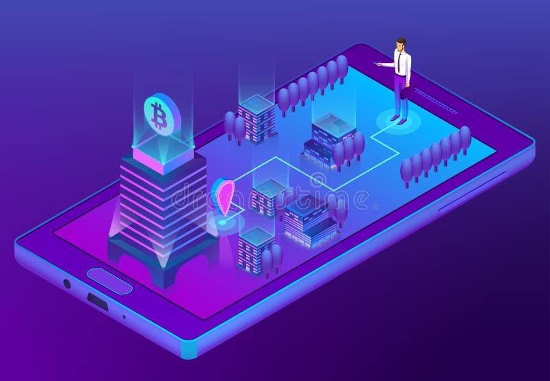 Concept isométrique du vecteur 3d avec l'exploitation de bitcoin illustration stock