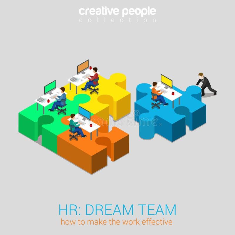 Concept isométrique du Web 3d plat d'équipe rêveuse de relations humaines d'heure illustration libre de droits