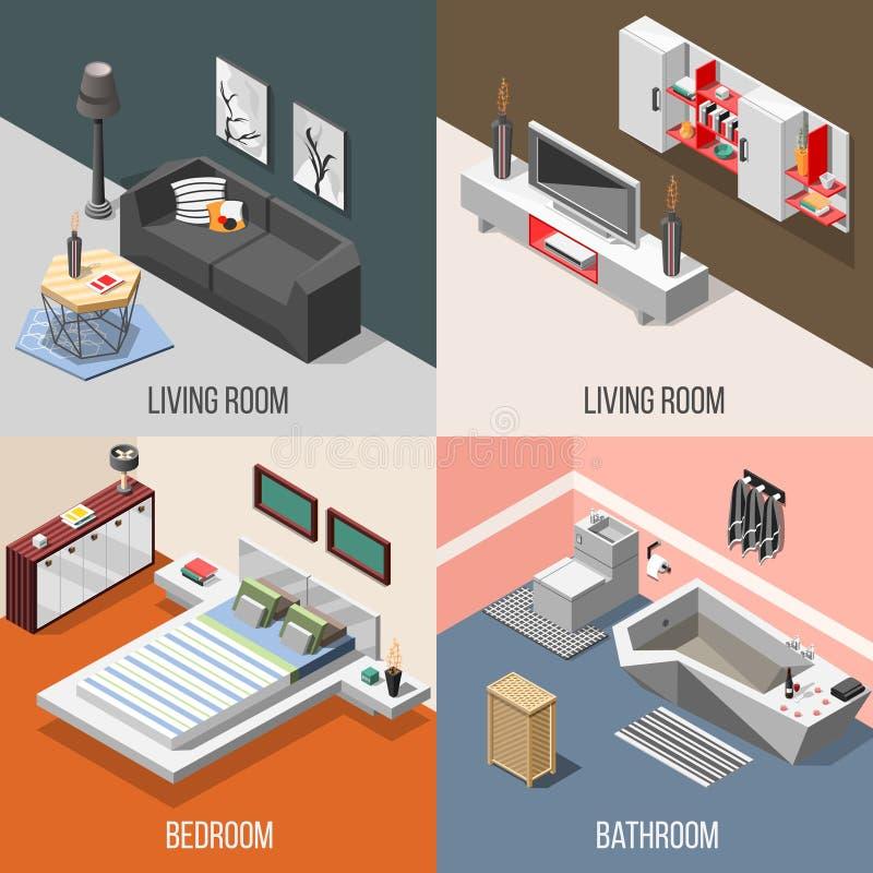 Concept isométrique intérieur à la maison futuriste illustration de vecteur