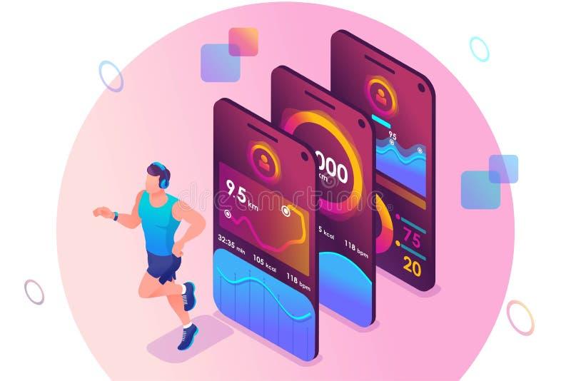 Concept isométrique L'application mobile suit la formation d'une personne Entraînement sportif, un homme qui court Concept de con illustration libre de droits