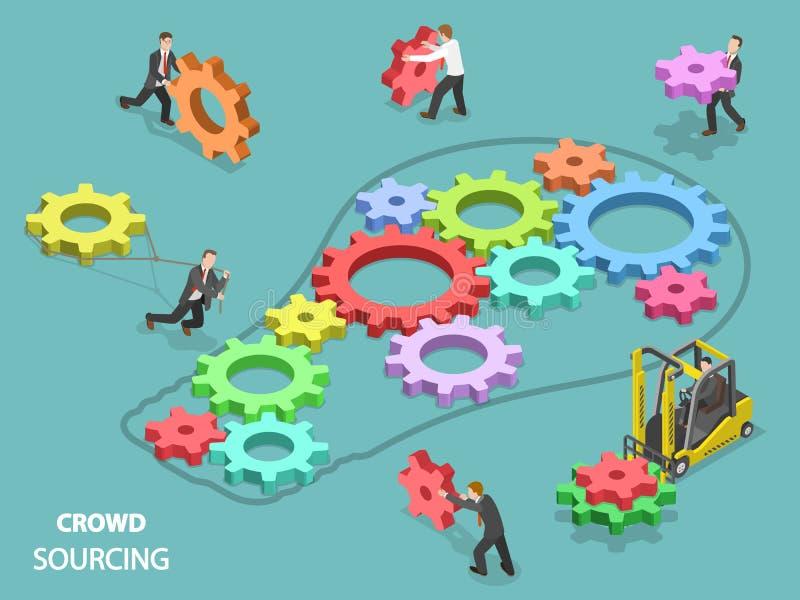 Concept isométrique plat de vecteur de Crowdsourcing illustration libre de droits