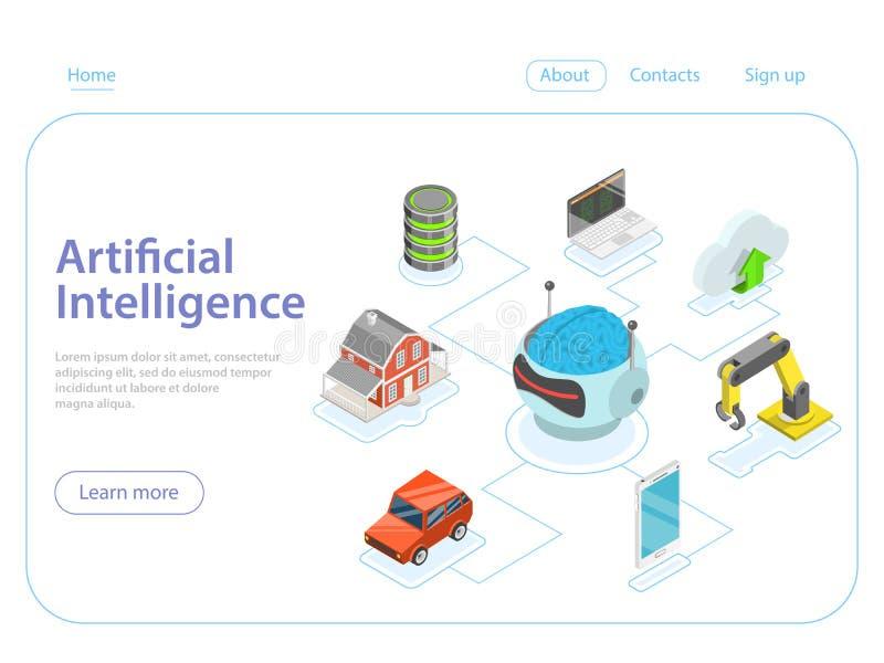 Concept isométrique plat de vecteur d'intelligence artificielle illustration stock