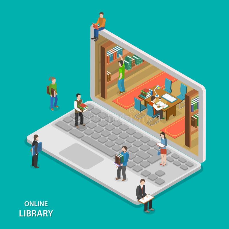Concept isométrique plat de vecteur de bibliothèque en ligne photographie stock libre de droits