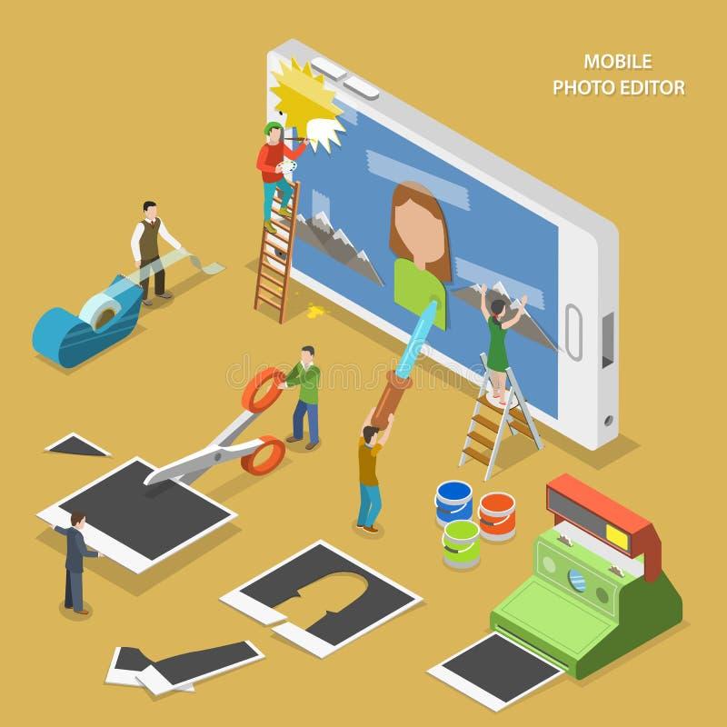Concept isométrique plat de vecteur de photographe éditeur mobile illustration de vecteur
