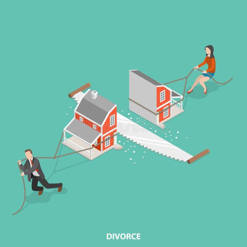 Concept isométrique plat de vecteur de divorce illustration stock