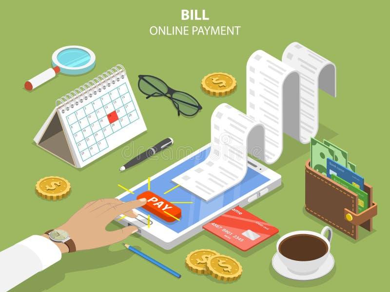 Concept isométrique plat de vecteur de paiement en ligne de factures illustration stock