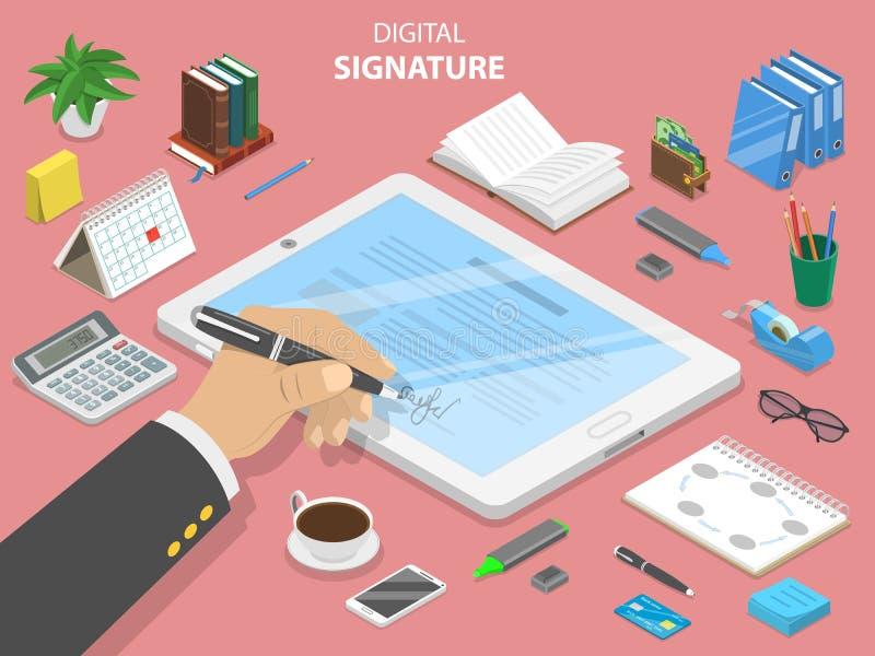 Concept isométrique plat de vecteur de signature digitale illustration de vecteur