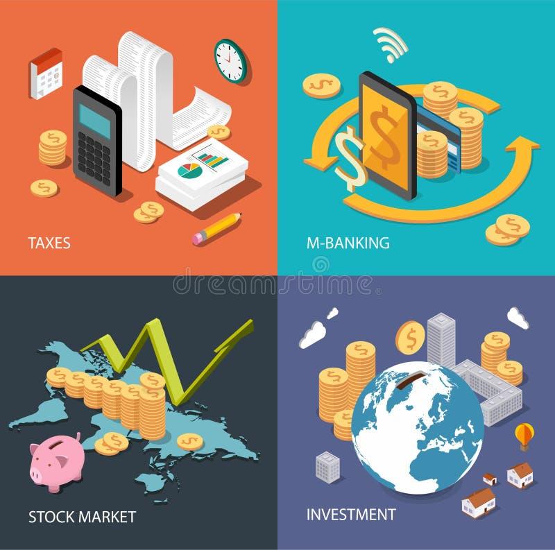 Concept isométrique plat : finances, marché boursier, investissant, impôts, m-opérations bancaires illustration stock