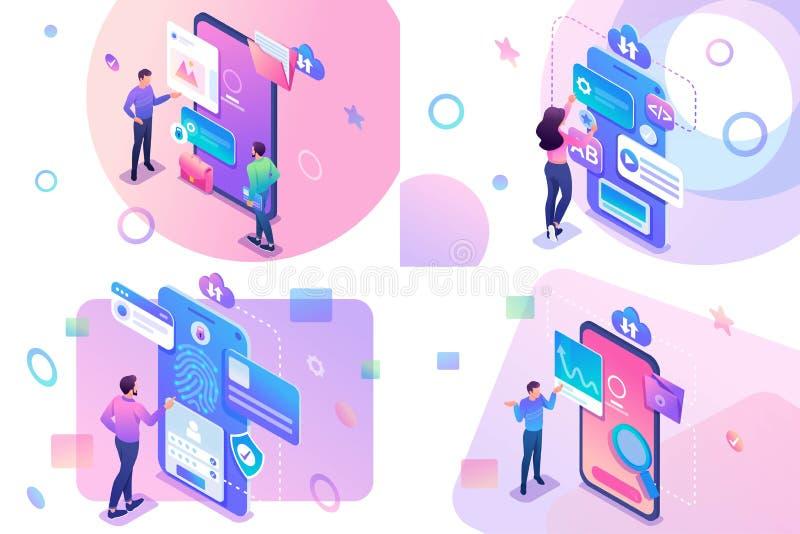 Concept isométrique réglé avec la jeunes recherche de l'information d'adolescents et protection, développement d'applications mob illustration de vecteur