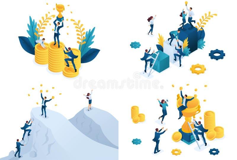Concept isométrique réglé de succès d'équipe Concepts modernes d'illustration pour le site Web et le d?veloppement mobile de site illustration libre de droits
