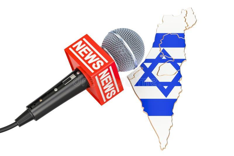 Concept israélien d'actualités, actualités de microphone sur la carte rendu 3d illustration libre de droits