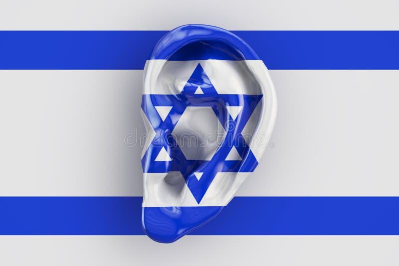 Concept israélien d'intelligence, oreille sur le drapeau de l'Israël 3d les déchirent illustration libre de droits