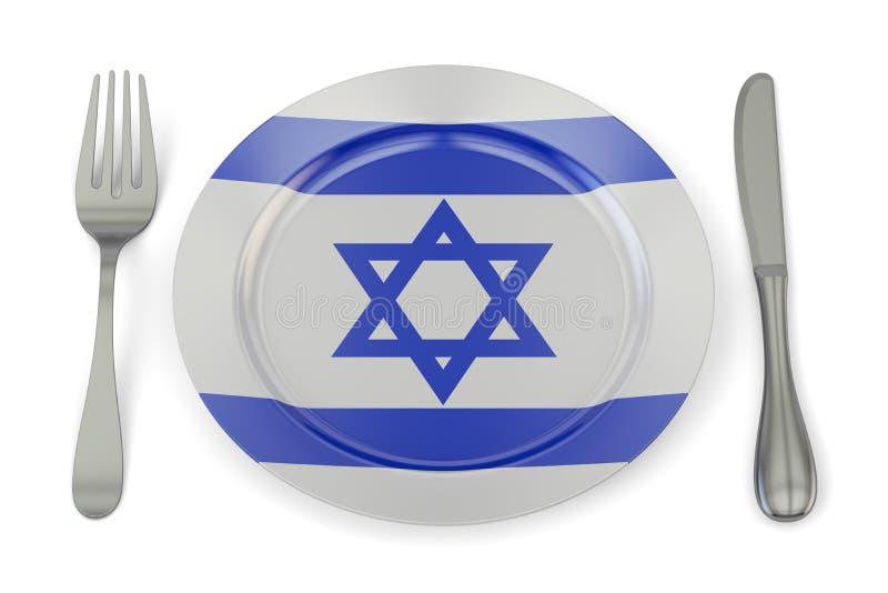 Concept israélien de cuisine, plat avec le drapeau de l'Israël rendu 3d illustration libre de droits