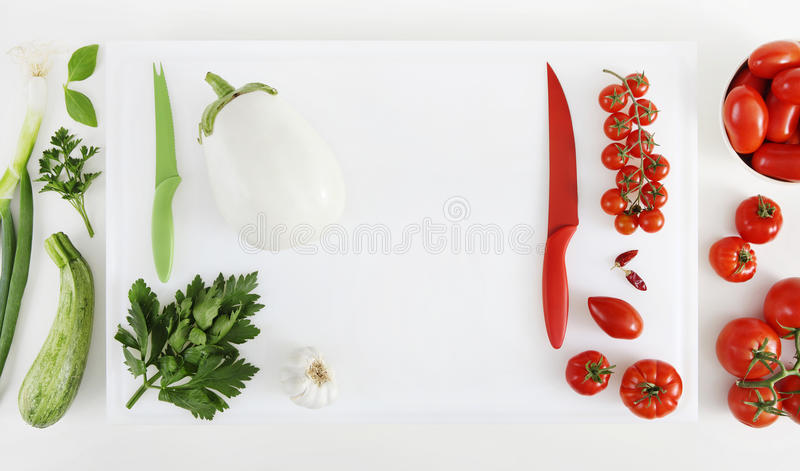 Concept of Italian food, ingredients in order as the colors of t royalty free stock photography