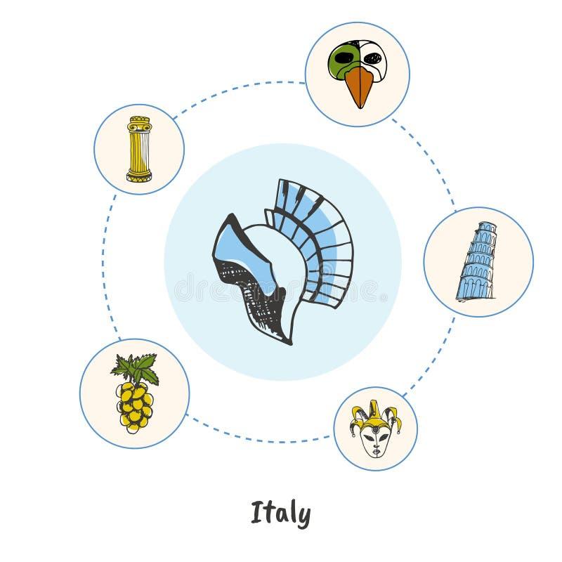 Concept italien célèbre de vecteur de griffonnage de symboles illustration stock