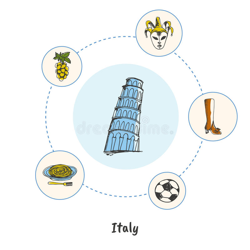 Concept italien célèbre de vecteur de griffonnage de symboles illustration libre de droits