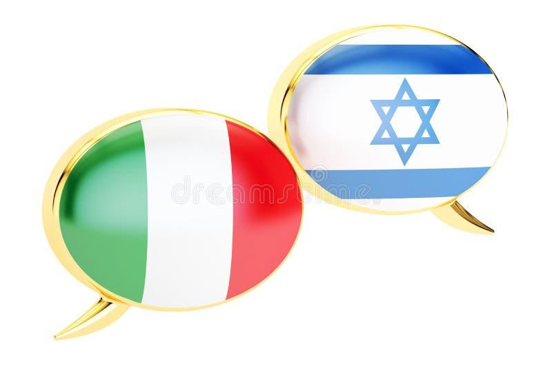 Concept Italien-israélien de conversation, rendu 3D illustration libre de droits