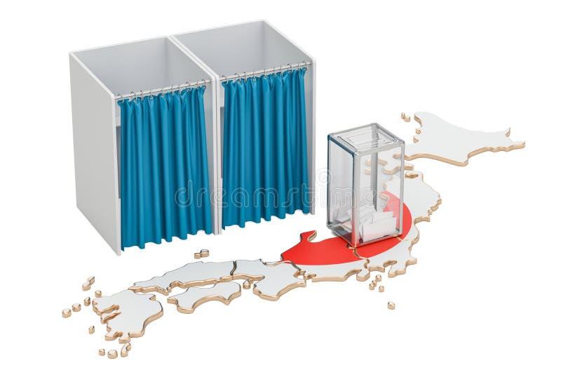 Concept japonais d'élection, urne et cabines de vote sur le m illustration de vecteur