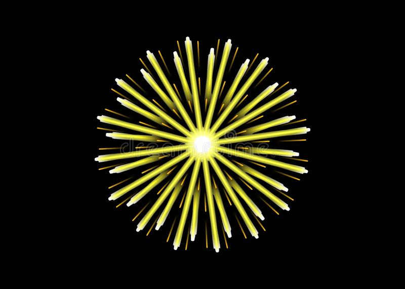 Concept jaune et orange radial de feu d'artifice sur le noir illustration de vecteur