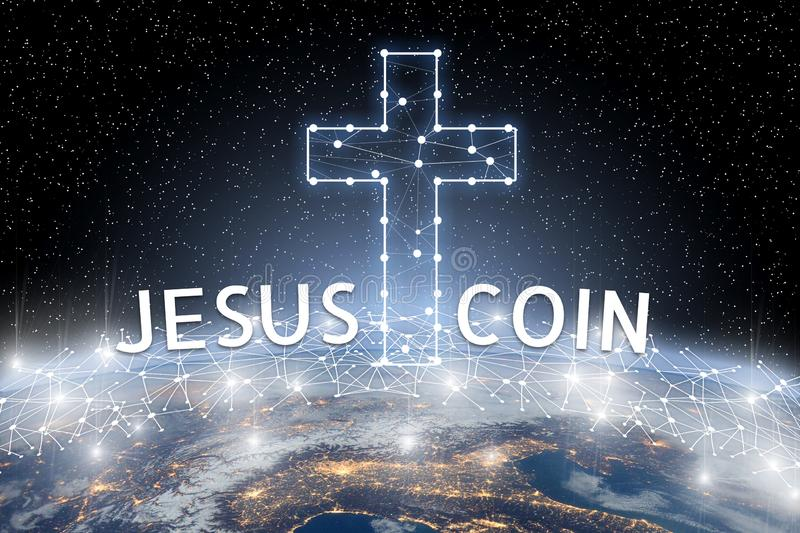 Concept of Jesus coin floating over world network, a Cryptocurrency blockchain platform. Digital money royalty free stock image