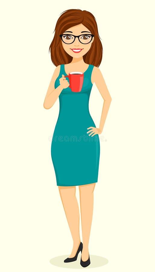 Concept, jeune fille d'homme d'affaires Fille avec une cuvette de caf? ? disposition Affaires et finances illustration de vecteur