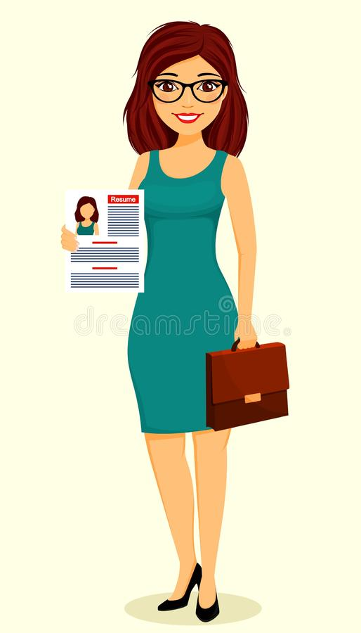 Concept, jeune fille d'homme d'affaires Fille de fille tenant un résumé dans sa main Recherche d'un emploi Affaires et finances illustration de vecteur