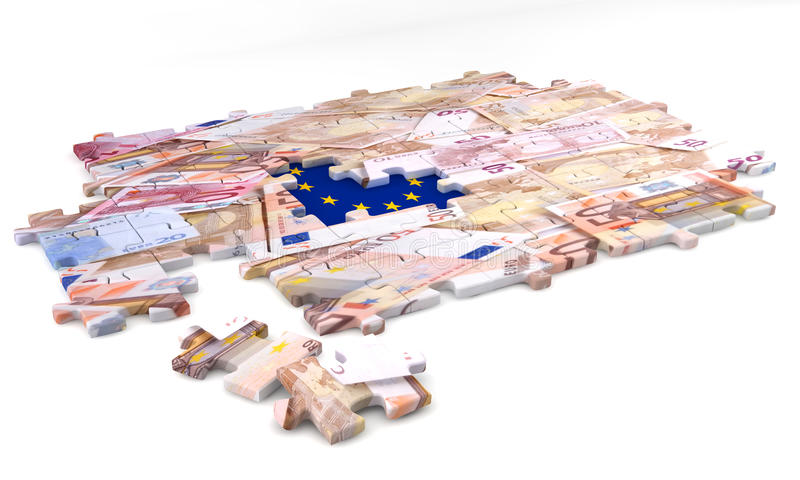 Concept of jigsaw puzzle European flag and money royalty free stock photos
