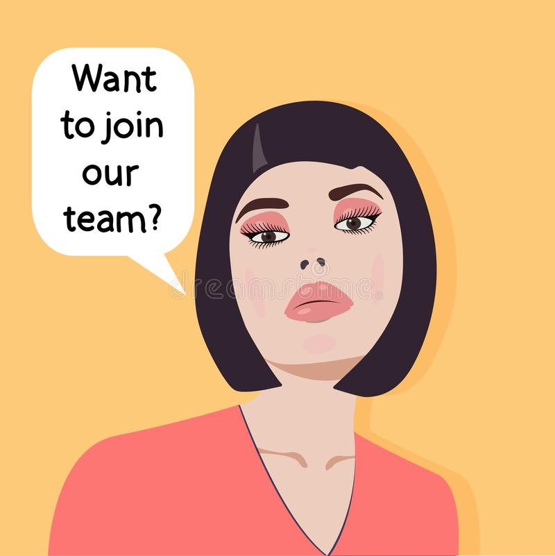 Concept - job search - Do you want to join our team? Employer. Vector graphics. vector illustration