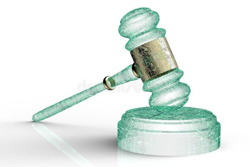 Concept juridique de juge d'ordinateur, marteau de cyber, illustration 3D illustration de vecteur