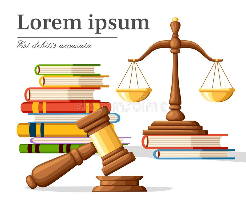 Concept justice in cartoon style. Justice scales and wooden judge gavel. Law hammer sign with books of laws. Legal law and auction vector illustration