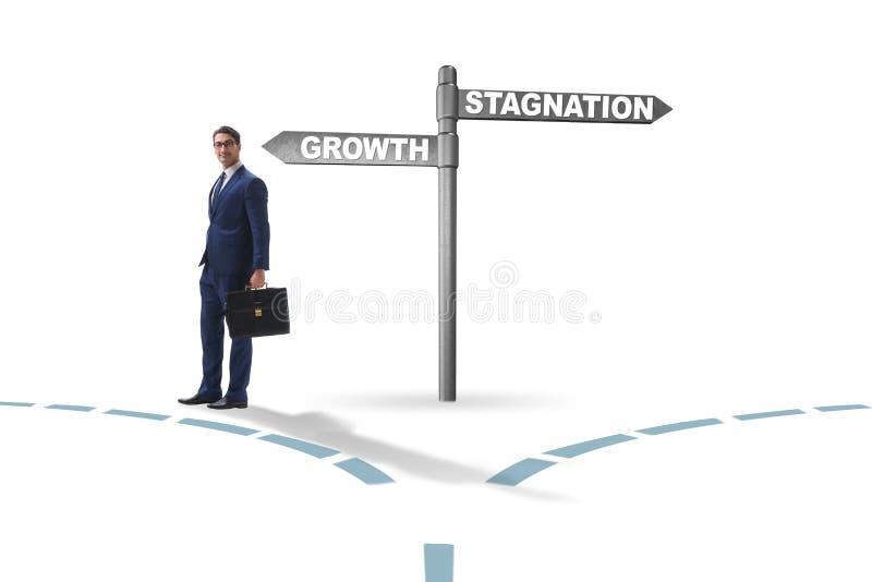 Concept keus tussen de groei en stagnatie stock afbeeldingen