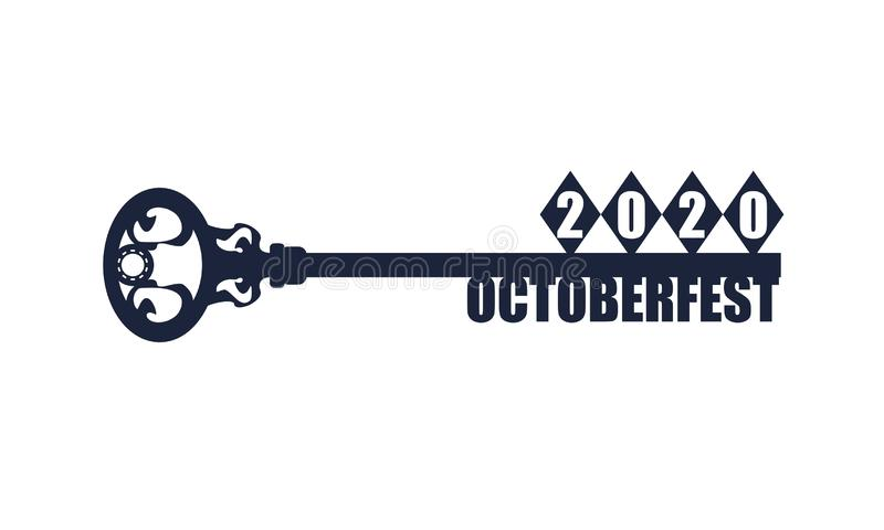Concept of a key. Oktoberfest bavarian traditional rhombus and text on the key. 2020 year number stock illustration