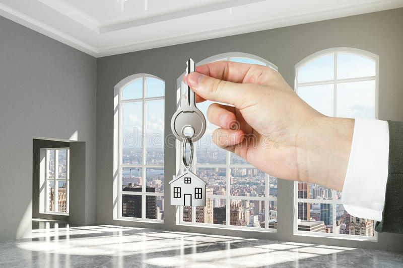 Concept of the keys to the new loft apartments royalty free stock photo