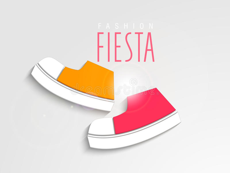 Concept of kids shoes with stylish text. stock illustration
