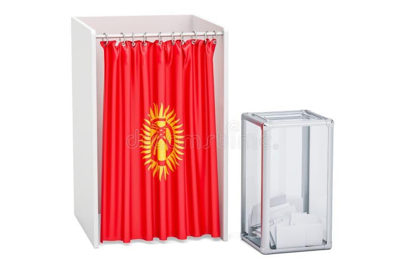 Concept kirghiz d'élection, urne et cabines de vote avec le drapeau illustration stock