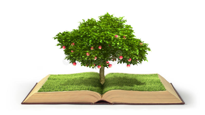 Concept of knowledge. Tree with fruit of knowledge growing out of book isolated on white background. Concept of reading royalty free illustration
