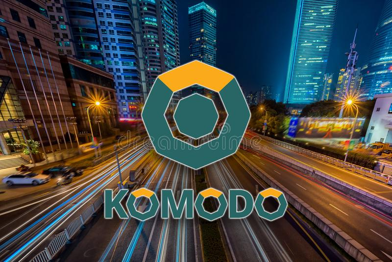 Concept of Komodo coin moving fast on the road, a Cryptocurrency blockchain platform royalty free illustration