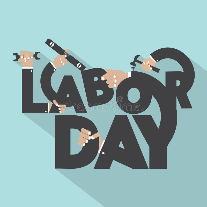 Concept Of Labor Day Typography Design stock illustration