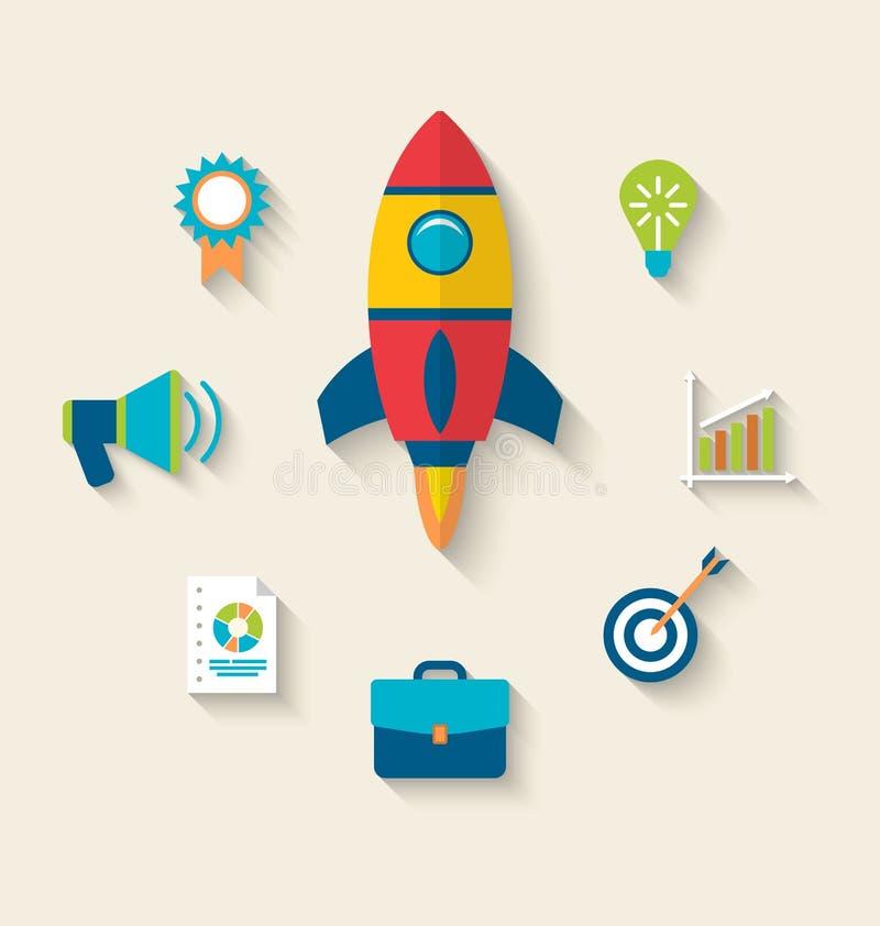Concept lancering een nieuw innovatieproduct op een markt royalty-vrije illustratie