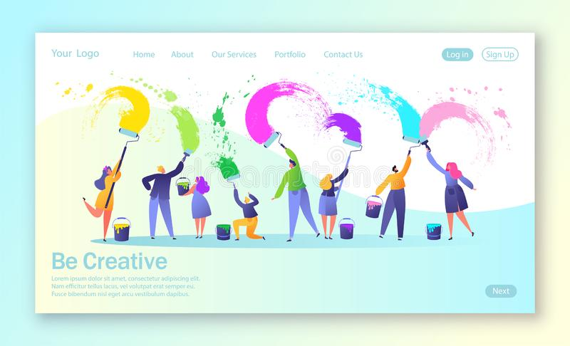 Concept of landing page with business creative teamwork. Creative people characters paints with brushes and paint rollers big whit vector illustration