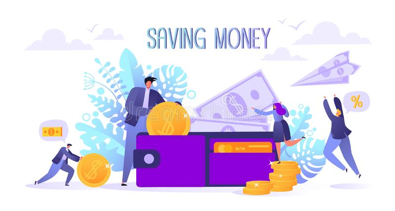 Concept of landing page on business and finance, saving money theme. Career, salary, earnings profit. Flat characters collecting m stock illustration