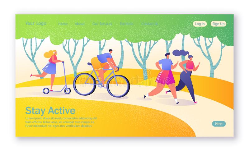 Concept of landing page on healthy lifestyle theme. Active people sports. Happy characters riding bicycle, couplerunning, woman on pushscooter. Healthy royalty free illustration