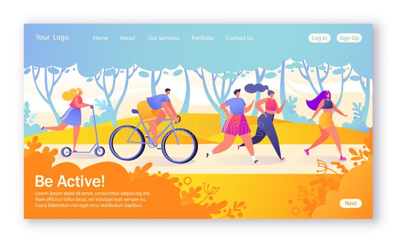 Concept of landing page on healthy lifestyle theme. Active people sports. Happy characters riding bicycle, couplerunning, woman on. Pushscooter. Healthy royalty free illustration