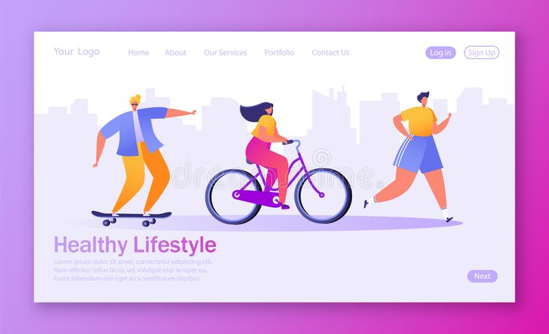 Concept of landing page on healthy lifestyle theme. Active people sports. royalty free illustration