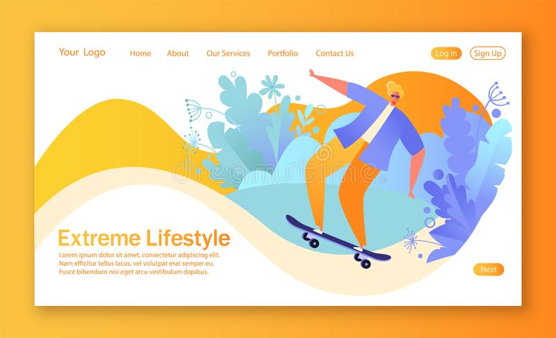 Concept of landing page on healthy lifestyle theme with happy guy character. He rides skateboards and doing a skateboard trick. Healthy lifestyle concept for stock illustration